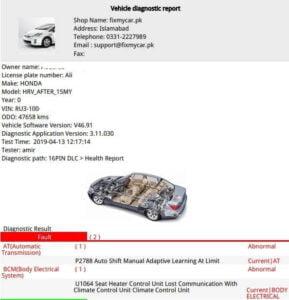 vehicle report dtc