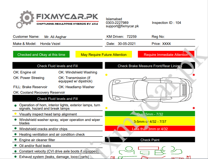 Car Inspection Report Honda Vezel